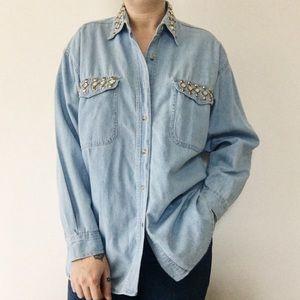 Vintage Studded Denim Casual Button Down Shirt